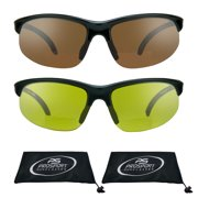 317757f14cf4 proSPORT 2 Pairs of Bifocal Reading Sunglasses with Sport Wrap Frames for  Men and Women.