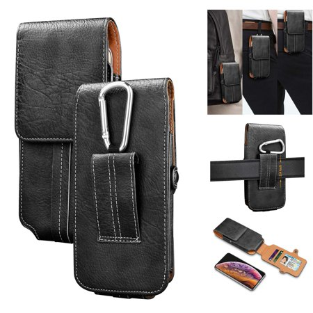 Njjex for LG Aristo 2 / Aristo 2 Plus / Aristo 3 / Risio 2 / Risio 3 / Tribute Dynasty / Tribute Empire up to 6.5 Display Holster Case Vertical Leather Carrying Pouch with Belt Clip Loop -Black