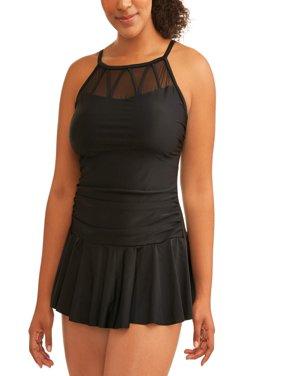 Women's Plus-Size Mesh Skater Swim Dress