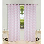 2 Panel Chevron Light Pink Two Tone Pattern Design Voile Sheer Window Curtain 8 Silver