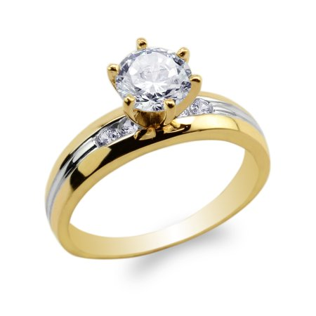 Womens 14K Yellow Gold Two Tone Lines Round CZ Solitaire Engagement Ring Size 4-9