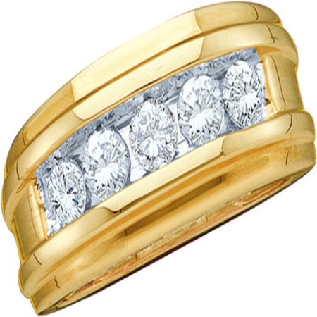 14kt Yellow Gold Mens Round Diamond Single Row Wedding Band Ring 1/4 Cttw