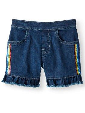 Denim Ruffle Short with Rainbow Sequins (Little Girls & Big Girls)