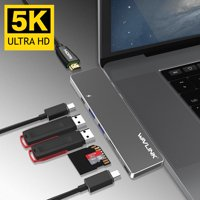 Wavlink USB-C Hub Aluminum Type C Adapter for Macbook Pro 2016/2017 13&15, Best dock- 5K@60Hz 40GbS TB3, Pass-Through Charging, USB-C data port, 2 USB 3.0, SD / Micro SD Card Reader-Grey