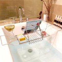 Knifun Bathtub Tray Caddy Stainless Steel Folding Bathtub Shower Rack Holder Removable Wine Glass Holder Organizer for Shampoo Soap, Wine, Beer, Mirror, Book, Magazine