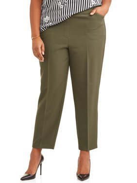 Women's Plus Size Pull On Stretch Woven Ankle Career Pant