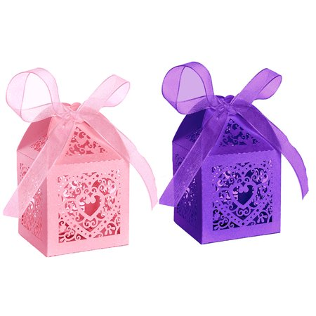 50pcs Party Wedding Favor Candy Box With Ribbon Laser Cut Love Heart Chocolate Gift Boxes Bonbonniere for Birthday Bridal Shower Valentine's Day Christmas Decoration - Bridal Party Gift Ideas