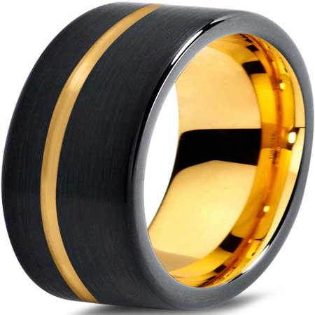 - Tungsten Wedding Band Ring 7mm for Men Women Black & 18K Yellow Gold Plated Pipe Cut Brushed Polished Lifetime Guarantee