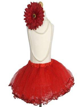 Efavormart 4 Layered Glitter Sequin Edged Girls Ballet Tutu Skirt for Dance Performance Events Wedding Party Banquet Event Skirt