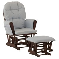 Storkcraft Hoop Glider and Ottoman Black with Light Blue Cushions