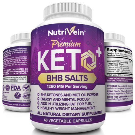 Ultimate Fat Burner (Nutrivein Keto Diet Pills 1250mg - Advanced Ketogenic Diet Weight Loss Supplement - BHB Salts Exogenous Ketones Capsules - Effective Ketosis Diet Fat Burner, Carb Blocker, Appetite Suppressant, 60 Ct )