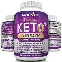 Nutrivein Keto Diet Pills 1250mg - Advanced Ketogenic Diet Weight Loss Supplement - BHB Salts Exogenous Ketones Capsules - Effective Ketosis Diet Fat Burner, Carb Blocker, Appetite Suppressant, 60 Ct