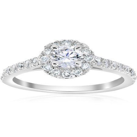 Brilliant Cut Solitaire Ring - 3/4ct Halo Diamond Engagement Ring 14k White Gold Round Cut Solitaire Brilliant