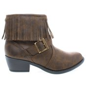 d9d0435b5bd46 Nikita by Soda, Women Fringe Ankle Boots, Western Inspired Stack Heel Bootie