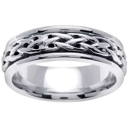 18K White Gold Infinity Knot Celtic Comfort Fit Women's Wedding Band (6.5mm) 18k White Gold Celtic Knot