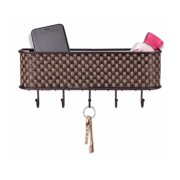 Weave Letter Rack with Key Hooks, New use Keychain Basics Brief Modern red Surf peg loom Bandage Book Third Back LR30625 Pack Business Bronze.., By Home Basics