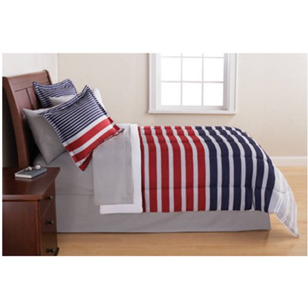 Mainstays Grey & Blue Stripe Bed in a Bag Bedding Set (Grey Bed In A Bag Sets)