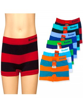 6 Knocker Boys Boxer Shorts Seamless Striped  Spandex Kids Soft Underwear S M L