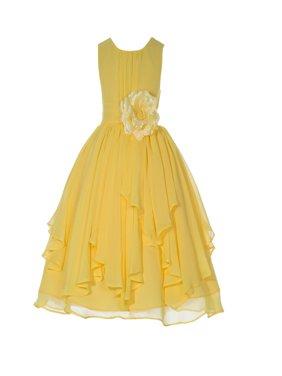 Ekidsbridal Yoryu Chiffon Ruched Bodice Flower Girl Dress Toddler Wedding Pageant Recital Easter 162F Red size 4