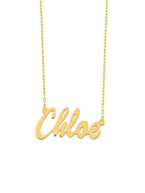 "Personalized 18kt Yellow Gold over Silver Script Name Necklace, 16"" and 18"" chain"