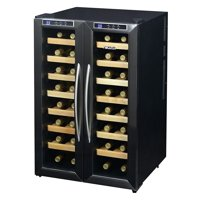 NewAir 32-Bottle Dual-Zone Thermoelectric Wine Refrigerator, Stainless Steel and Black