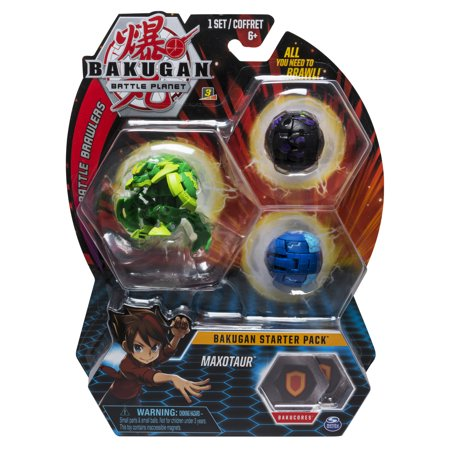- Bakugan Starter Pack 3-Pack, Maxotaur, Collectible Action Figures, for Ages 6 and Up