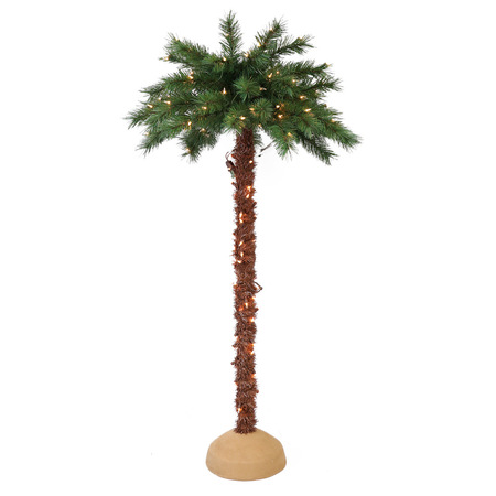 Puleo International 6 ft. Pre-Lit Artificial Palm Tree with 150 UL-Listed -
