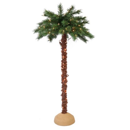 Puleo International 6 ft. Pre-Lit Artificial Palm Tree with 150 UL-Listed Lights](Party Palm Trees)