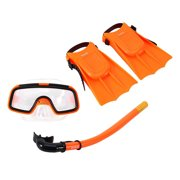 Children Snorkeling Set, Diving Kids Goggles Flippers Snorkel Set, Lightweight Comfortable Toddler Learn Swimming