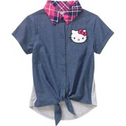 d61cf4c51 Girls' Short Sleeve Front Tie with Plaid Collar Top