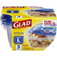 (3 pack) Glad Food Storage Containers - Tall Entree Container - 42 Ounce - 3 Count