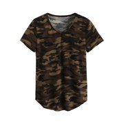 28a03085 OUMY Women V-neck Camouflage Short Sleeve T-shirt Top