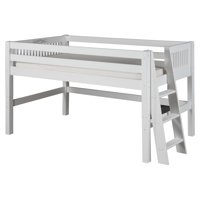 Camaflexi Full Size Low Loft Bed - Mission Headboard - Lateral Ladder - White Finish