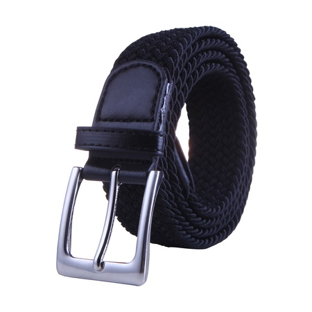 HDE Mens Elastic Braided Web Belt Woven with Leather Accents and Silver Buckle (Black, (Patent Leather Covered Buckle Belt)