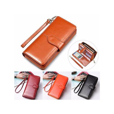 - New PU Leather Wallets For Women Long Card Holder Zipper Clutch Phone Purse