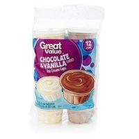 Great Value Chocolate & Vanilla Ice Cream Cups, 36 oz, 12 Count