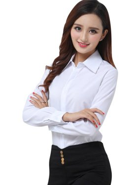 EFINNY Office Lady Long Sleeve Formal Button Down Blouse