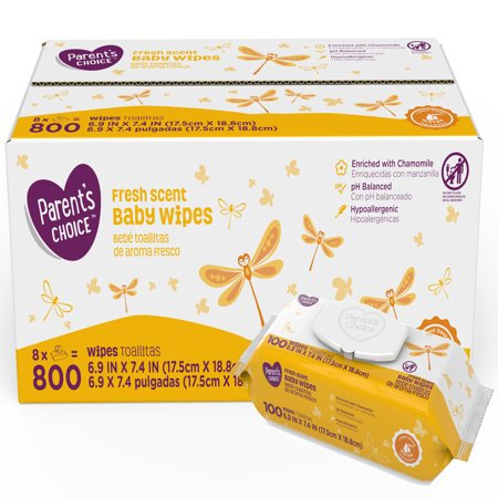 Parent's Choice Fresh Scent Baby Wipes, 8 packs of 100 (800 count) Dots Baby Wipe Case