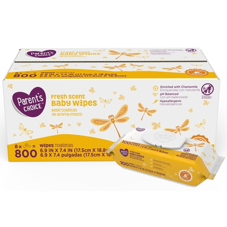 Parent's Choice Fresh Scent Baby Wipes, 8 packs of 100 (800