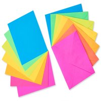 American Greetings Rainbow Flat Note Cards and Colored Envelopes Stationery Pack, 100ct