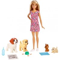 Barbie Doggy Daycare Doll, Blonde Hair with 2 Dogs & 2 Puppies