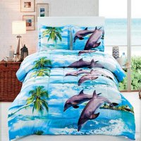 HIG 3D Comforter Set -3 Piece 3D Dolphin And Palm Tree Printed Comforter Set Queen Size (D12) - Box Stitched, Soft, Breathable, Hypoallergenic, Fade Resistant -Includes 1 Comforter, 2 Shams