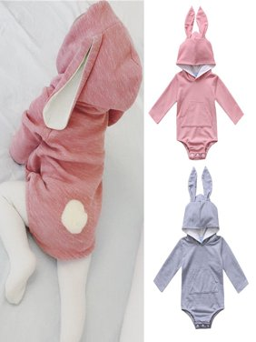 Infant Baby Girl Boys Hooded Rabbit Ear Romper Cotton Bodysuit Outfits Pink Blue