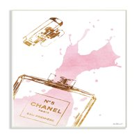 The Stupell Home Decor Collection Glam Perfume Bottle Splash Pink Gold Oversized Wall Plaque Art