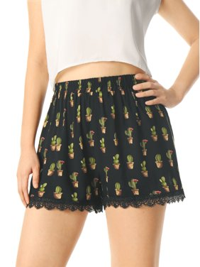 Women's Printed Lace Trip Elastic Waistband Shorts