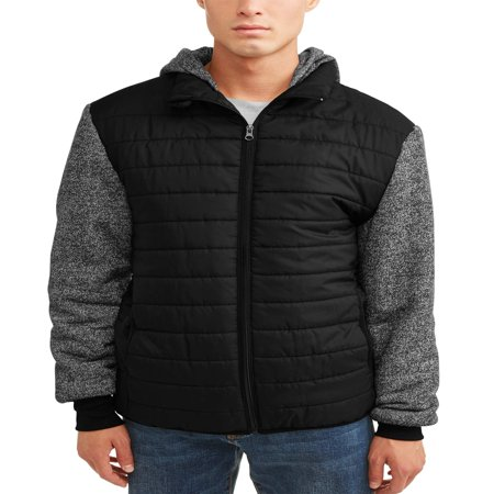 Phat Farm Men's Ultra LightPuffer Vest with Swater Fleece Sleeve and Hood, Up to size (Running Mens Vest)