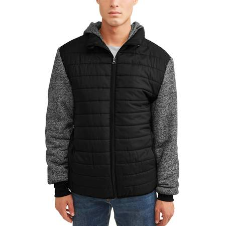 Men's Ultra Light Puffer Vest With Fleece Sleeves and Hood, Up to Size 5XL ()