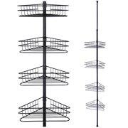 Yescom 4 Tier Metal Bathroom Telescopic Corner Shower Shelf Caddy Pole Wall Rack Storage Organizer Soap Holder