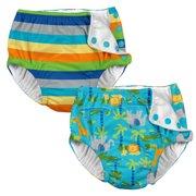 a46b752793 i play Baby and Toddler Snap Reusable Swim Diaper - Stripes and Aqua Jungle  - 2