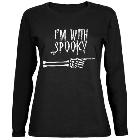 Halloween I'm With Spooky Black Womens Long Sleeve T-Shirt - Spooky Halloween Music Online